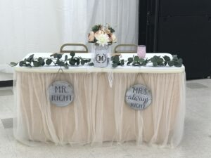 Wedding table setting Headwaters Arts and Conference Center Dubois Wyoming